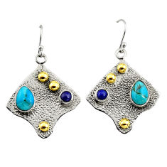 4.91cts victorian blue arizona mohave turquoise silver two tone earrings r9072