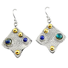2.50cts victorian natural blue labradorite silver two tone dangle earrings r9073