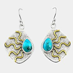 925 silver 4.73cts victorian arizona mohave turquoise two tone earrings r9078