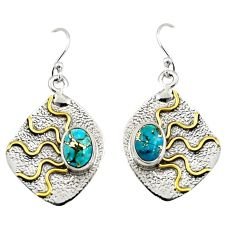 925 silver 4.38cts victorian blue copper turquoise two tone earrings r9080