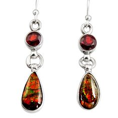 925 silver 7.31cts natural multi color ammolite (canadian) dangle earrings r9265