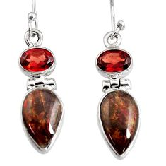 925 silver 8.80cts natural multi color ammolite (canadian) dangle earrings r9269