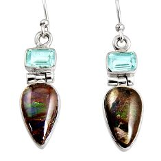 925 silver 8.37cts natural multi color ammolite (canadian) dangle earrings r9279
