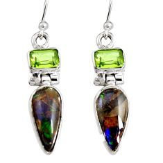 925 silver 7.24cts natural multi color ammolite (canadian) dangle earrings r9284
