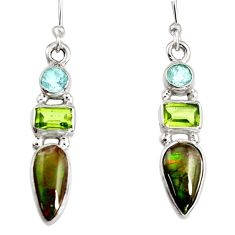 925 silver 7.65cts natural multi color ammolite (canadian) dangle earrings r9288