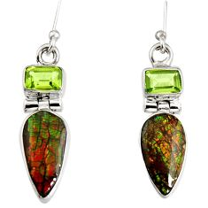 8.80cts natural multi color ammolite (canadian) 925 silver dangle earrings r9290