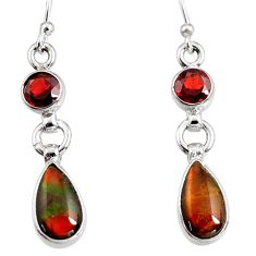 7.25cts natural multi color ammolite (canadian) 925 silver dangle earrings r9295