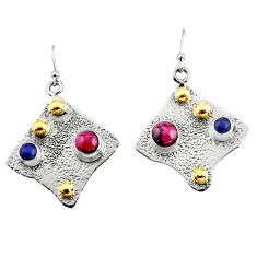 3.74cts victorian natural red garnet 925 silver two tone dangle earrings r9381