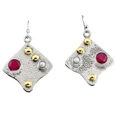 925 silver 4.36cts victorian natural red ruby pearl two tone earrings r9384