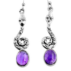 6.31cts natural purple amethyst 925 sterling silver snake earrings jewelry r9402