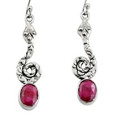 925 sterling silver 4.52cts natural red ruby snake earrings jewelry r9404