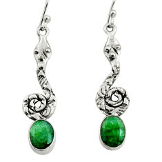 4.30cts natural green emerald 925 sterling silver snake earrings jewelry r9406