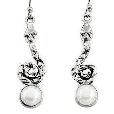 4.74cts natural white pearl 925 sterling silver snake earrings jewelry r9409