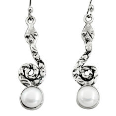 4.74cts natural white pearl 925 sterling silver snake earrings jewelry r9411