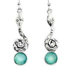 925 sterling silver 4.70cts natural aqua chalcedony snake earrings jewelry r9413