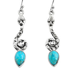4.93cts blue arizona mohave turquoise 925 sterling silver snake earrings r9414