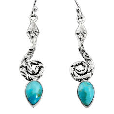4.93cts blue arizona mohave turquoise 925 sterling silver snake earrings r9415