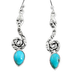 925 sterling silver 5.38cts blue arizona mohave turquoise snake earrings r9416
