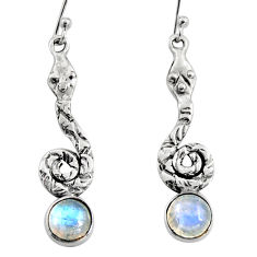 925 sterling silver 4.70cts natural rainbow moonstone snake earrings r9419