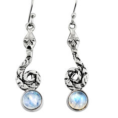 4.70cts natural rainbow moonstone 925 sterling silver snake earrings r9420