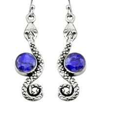 4.92cts natural blue sapphire 925 sterling silver snake earrings jewelry r9422