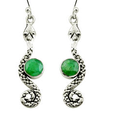 925 sterling silver 4.47cts natural green emerald snake earrings jewelry r9424