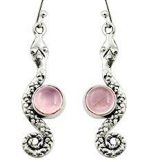 4.92cts natural pink rose quartz 925 sterling silver snake earrings r9425