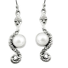 925 sterling silver 5.13cts natural white pearl snake earrings jewelry r9427