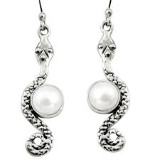 5.13cts natural white pearl 925 sterling silver snake earrings jewelry r9429