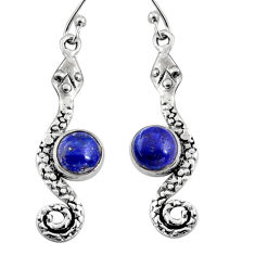 925 sterling silver 4.92cts natural blue lapis lazuli snake earrings r9430