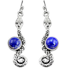 4.92cts natural blue lapis lazuli 925 sterling silver snake earrings r9431