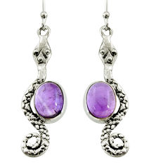 5.75cts natural purple amethyst 925 sterling silver snake earrings jewelry r9434