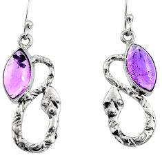 5.38cts natural purple amethyst 925 sterling silver snake earrings jewelry r9441