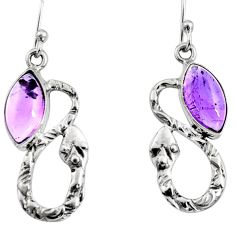 5.52cts natural purple amethyst 925 sterling silver snake earrings jewelry r9442