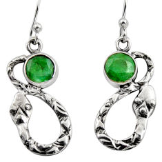 2.41cts natural green emerald 925 sterling silver snake earrings jewelry r9443