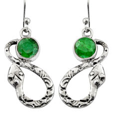 2.41cts natural green emerald 925 sterling silver snake earrings jewelry r9444