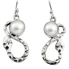 4.70cts natural white pearl 925 sterling silver snake earrings jewelry r9447