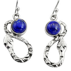 4.70cts natural blue lapis lazuli 925 sterling silver snake earrings r9449