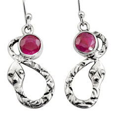 925 sterling silver 4.29cts natural red ruby snake earrings jewelry r9451