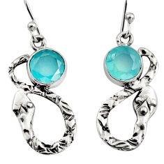 4.47cts natural aqua chalcedony 925 sterling silver snake earrings jewelry r9453