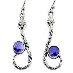 2.81cts natural blue sapphire 925 sterling silver snake earrings jewelry r9461