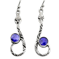2.97cts natural blue sapphire 925 sterling silver snake earrings jewelry r9462