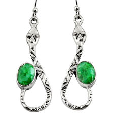 4.52cts natural green emerald 925 sterling silver snake earrings jewelry r9466