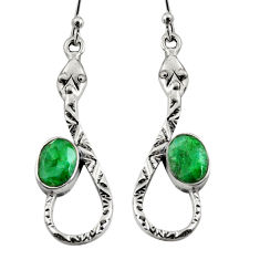 4.52cts natural green emerald 925 sterling silver snake earrings jewelry r9468