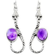 5.52cts natural purple amethyst 925 sterling silver snake earrings jewelry r9469
