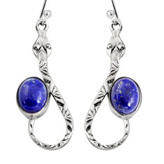 5.75cts natural blue lapis lazuli 925 sterling silver snake earrings r9471
