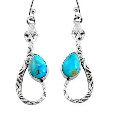 4.92cts blue arizona mohave turquoise 925 sterling silver snake earrings r9473