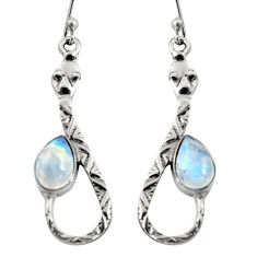 925 sterling silver 4.92cts natural rainbow moonstone snake earrings r9477