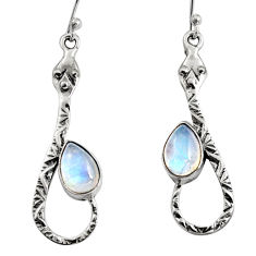 4.40cts natural rainbow moonstone 925 sterling silver snake earrings r9479