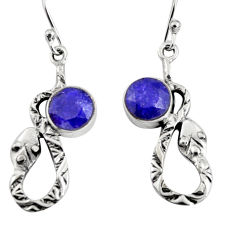4.70cts natural blue sapphire 925 sterling silver snake earrings jewelry r9481